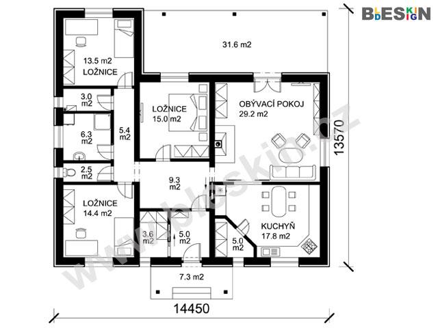 Projekt Bungalov H S Velkou Terasou Projekty Rodinnych Domu Bleskin Cz